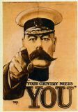 Lord Kitchener: Your Country Needs You. Vintage Propaganda Military Print/Poster. Sizes: A4/A3/A2/A1 (002685)